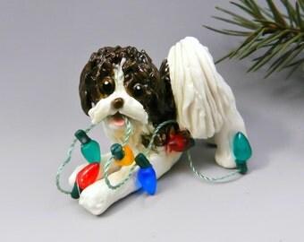 Havanese Brown White Christmas Ornament Figurine lights Porcelain