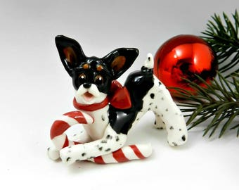 Toy Fox Terrier Rat Terrier Christmas Ornament Figurine Candy Cane Porcelain