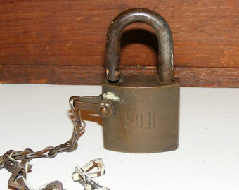 SALE Vintage Brass P D H P.D.H Lock Padlock with Chain Pennsylvania Department of Highways
