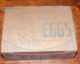 Vintage Cardboard Egg Carton Box with Chicken and Rooster
