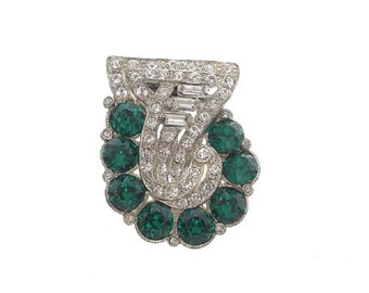 Vintage Art Deco Emerald Dress Clip, Baguette Crystal Pin, Fine1920s Art Deco Jewelry, Emerald Rhinestone Jewelry