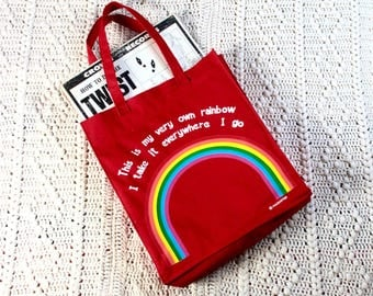 Retro 1970's Rainbow Tote Bag // Kitschy and Fun // Bright Red // PMA //Vintage Canvas Tote Bag