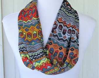 Chiffon Tribal Print Scarf, Multicolor Ethnic Print, Infinity Scarf, Circle Scarf, Women's Scarves, Eclectasie