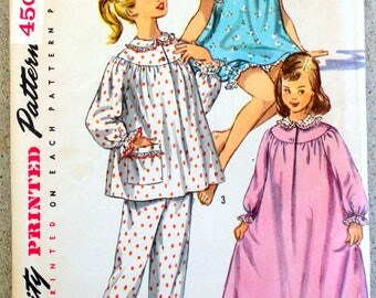 1956 Simplicity sewing pattern #1828 - Girls' size 8; Pajamas in two lengths and nightgown - PATTERN IS COMPLETE