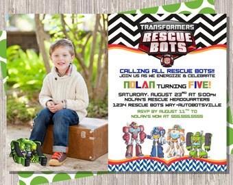 Rescue Bots Birthday Invitation - boy birthday invite with photo - transformers -  5x7 JPG