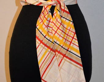 Vintage Deadstock Wide Striped Cotton Sash Belt. Necktie Neck Tie Pussy Bow. One size. Red Yellow and White Versatile.