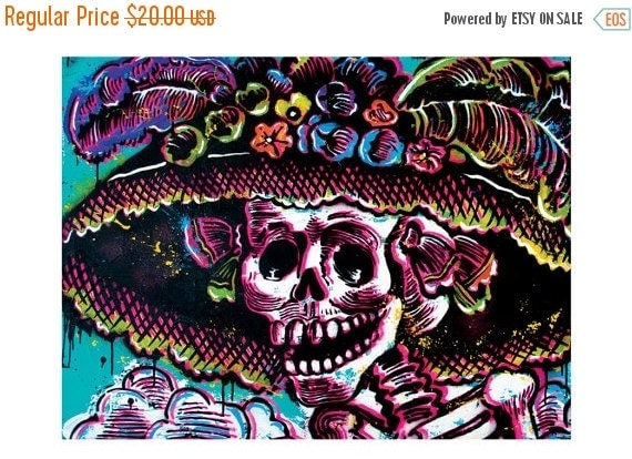 "ON SALE 18"" x 12"" Print - Day of the Dead Art Print Poster - Dia de Los Muertos Calavera Skull Skeleton"