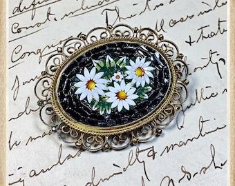 vintage Italian Micro mosaic brooch pin daisy Italy black