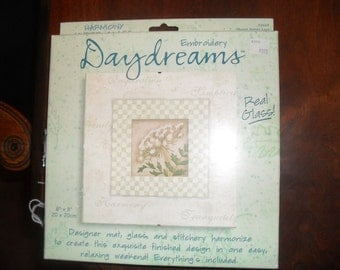 Counted Cross Stitch Stitchery Kit New DayDreams Picture 8 X 8 in Glass