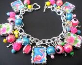 Flamingo Bracelet, Flamingo Jewelry, Bird Bracelet, Bird Jewelry, Pink Bracelet, Pink Jewelry, Florida Bracelet, Florida Jewelry