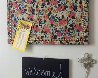 "Decorative Bulletin Board - Memo Board - 17.75"" x 23.75"" Large w/ Brass/Gold Nail Trim"