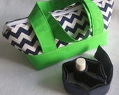 Essential Oils Travel Bag & 10 Sleeve Insert, Chevron and Kelly Green, Large
