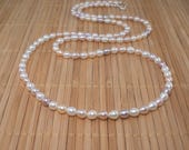 Long Pearl Necklace Mauve White Pearl Necklace Skinny Pearl Necklace Long Mauve Multi Necklace Freshwater Pearls 34 inch Pearl Necklace