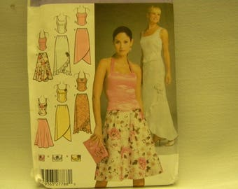 Uncut Simplicity Pattern 4990 Misses' Evening Tops, Skirts and Purse