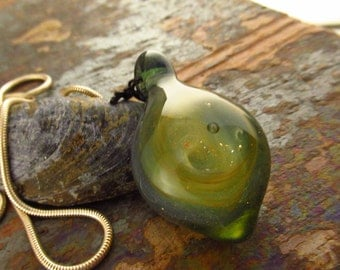Lampwork Borosilicate Glass Gold Fume Pendant -  Welsh Glass Jewellery - Lampwork Pendant - Flamework Jewellery