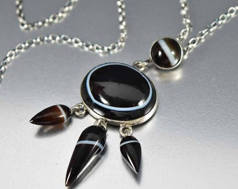 Antique Victorian Banded Agate Necklace, Scottish Agate Sterling Silver Antique Necklace, Scottish Jewellery, Agate Pendant Drop Necklace