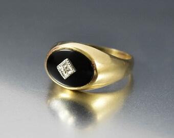 Gold Onyx Diamond Signet Ring, Yellow Gold Art Deco Ring, Black Onyx Ring, Art Deco Diamond Ring, Vintage Unisex Ring, Gold Mens Ring