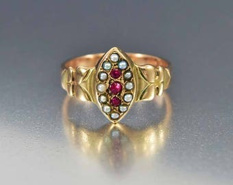 Antique Rose Gold Pearl Garnet Ring, 9K Gold Engagement Ring, Seed Pearl Halo Ring, Alternative Victorian Engagement Ring, Navette Ring