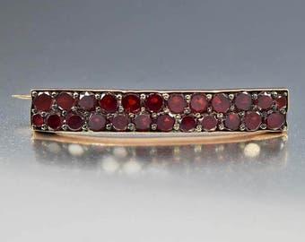 Antique Bohemian Garnet Brooch, Rose Gold Victorian Bar Pin, Victorian Jewelry, Antique Jewelry, 1800s Garnet Jewelry, January Birthstone