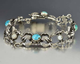 Antique Austro Hungarian Turquoise Bracelet, Pearl Sterling Silver Bracelet, Victorian Art Nouveau Antique Bracelet, Blue Green Stone