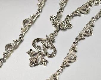 Sterling Silver Marcasite Necklace, England Silver Pendant Necklace, Fleur de Lis, Art Deco Necklace, Vintage Rustic Wedding Necklace,