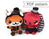 Chibi Steampunk Animal Plush Sewing Pattern .pdf Tutorial Rabbit Panda Fox Wolf Cat