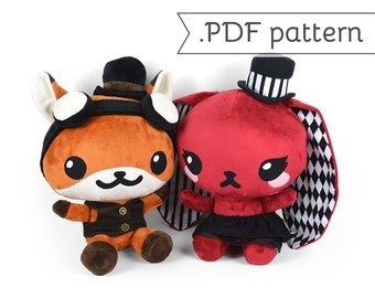 Chibi Steampunk Animal Plush Sewing Pattern .pdf Tutorial Rabbit Panda Fox Wolf Cat