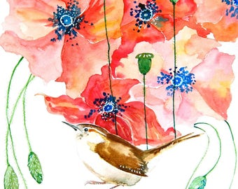 """Watercolor Painting, Wren with Poppies, Giclee Print, 8""""x10"""""""