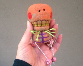OOAK Needle Felted Day of the Dead Orange Skeleton Toy Shelf Sitter Ready to Ship