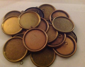 Qty 20 Mixed Lot - 25mm 1 inch Round Bezel Gold/Copper Glass Cabochon