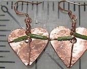 Reservation for Judy Macmillan only. Custom Copper Hearts Earrings. Green Beaded Earrings