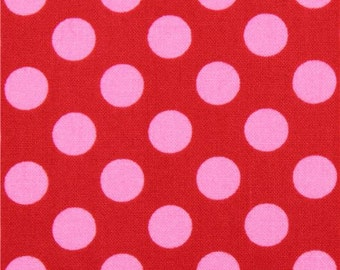 202471 red Michael Miller fabric Ta Dot with pink dots