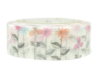 210659 white with pink blue flower Washi Masking Tape deco tape Shinzi Katoh