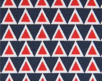 214172 white red navy blue triangle canvas organic fabric by monaluna