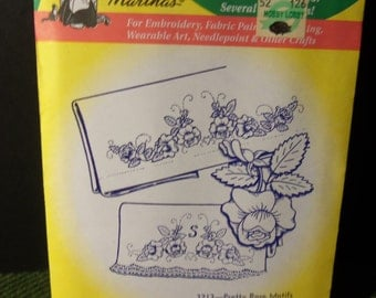 Vintage Aunt Martha's Hot Iron Transfer 3213 Pretty Rose Motif