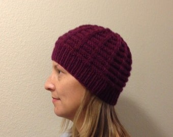 Womens Beanie Wool Hat in Winter Red