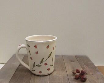 Ceramic red ladybug mug, unisex insect bug mug, spring garden mug, Mother's Day gift