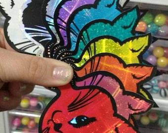 Rainbow Set of 10 Prismatic Winking Cats - Vintage Vending Machine Stickers