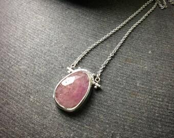 rose cut pink sapphire bezel set in sterling silver pendant necklace