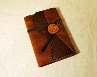 2017 Burnt Orange Leather Planner with Leather Tie- Refillable