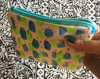 Abstract Dots Painted Leather Zipper Pouch, Hand Painted, Soft Lamb Leather, Ikat Lined Wallet