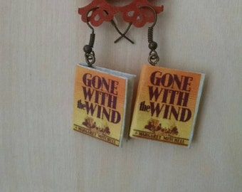 Mini Gone With the Wind Earrings - Handmade Book Jewelry - Margaret Mitchell Book Earrings - Mini Book Jewelry - Handmade Mini Book Earrings