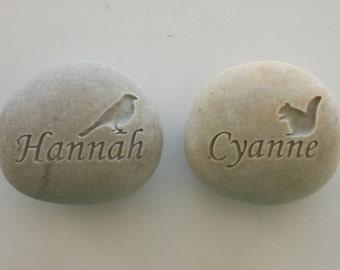 Custom Engraved Pet Memorial White Light Grey Stone Dog Cat Pet Loss Pocket Rock