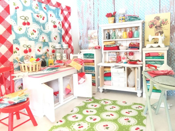 Miniature Dollhouse Sewing Hutch, Accessories and 2 Filled Shelves -1:12 scale