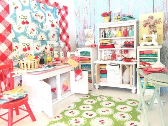 Miniature Dollhouse Sewing Hutch, Accessories  -1:12 scale