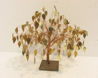Vintage Gold Leaves Leaf Tree Golden Wire Art Sculpture Mid Century