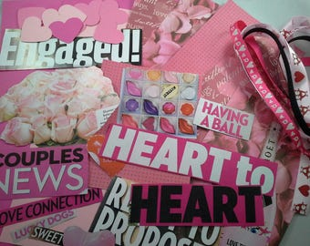 Collage Kit, Love themed Pre-cut Words and images from Magazines, for Junk Journals, Collage Art, Collage Journals, Smash Books