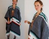 sale 25% off Mexicana Serape Poncho Vintage Hand Woven Mexicana Hippie Bohemian Blanket Serape Poncho (one size)