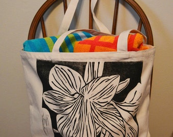 Amarylis Tote Bag, Flower Bag, Hand printed, Linocut, Canvas Bag, Beach Bag, Grocery Bag