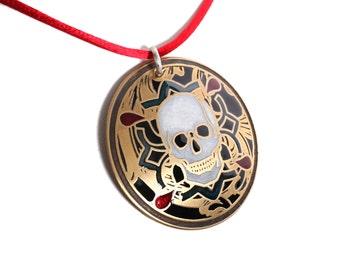 white skull pendant, byzantine necklace, gold skull, gold skull pendant for men, skeleton jewelry, skull head necklace,  skull medallion